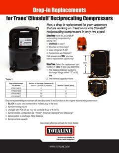 Page 1 - Compressors: Trane Exact Fit Replacement